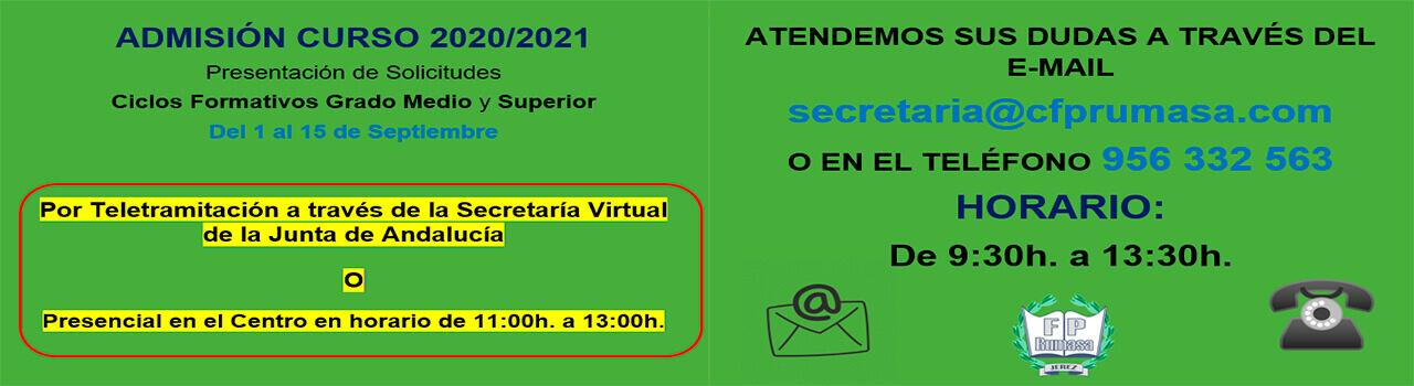 Admisión Curso Escolar 2020-2021 (Septiembre)